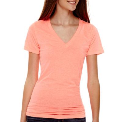 Arizona Short Sleeve V Neck T-Shirt-Womens Juniors