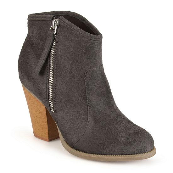 Journee Collection Womens Link Booties Stacked Heel Wide Width
