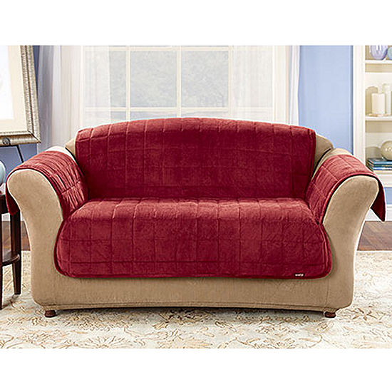 Sure Fit Quilted Velvet Deluxe Sofa Pet Furniture Cover