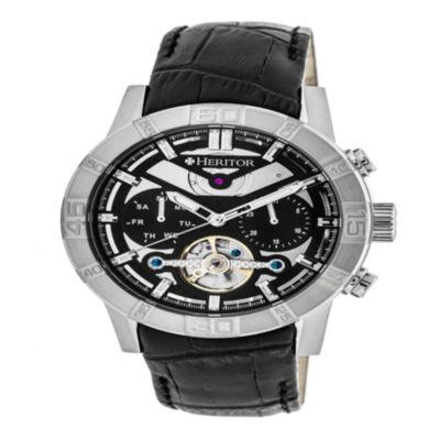 Heritor Mens Black Strap Watch-Herhr4102