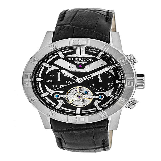 Heritor Mens Black Strap Watch Herhr4102