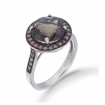 Womens Brown Quartz Sterling Silver Halo Ring