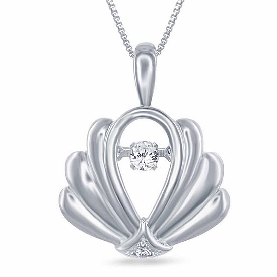 "Enchanted by Disney Diamond Accent Sterling Silver ""Ariel"" Shell Pendant Necklace"