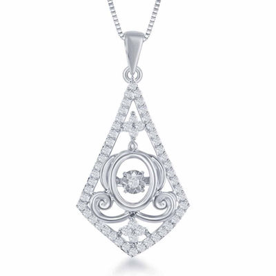 "Enchanted Disney Fine Jewelry 1/4 C.T. T.W. Sterling Silver ""Cinderella"" Carriage Drop Pendant Necklace"