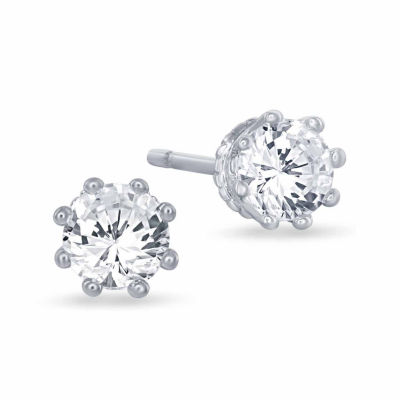 "Enchanted by Disney 5/8 C.T. T.W. 10K White Gold ""Disney Princess"" Crown Stud Earrings"