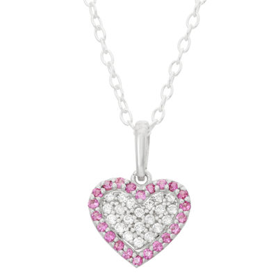 Children's 14K Rose Gold Over Silver Cubic Zirconia Heart Pendant Necklace