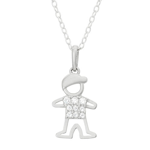 Children's Sterling Silver Boy Pendant Necklace