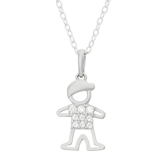 Children's Sterling Silver Boy Pendant Necklace