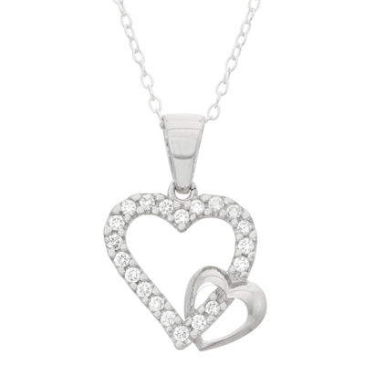 Children's Sterling Silver Double Heart Pendant Necklace