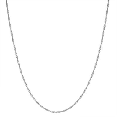 Sterling Silver Solid Singapore 15 Inch Chain Necklace