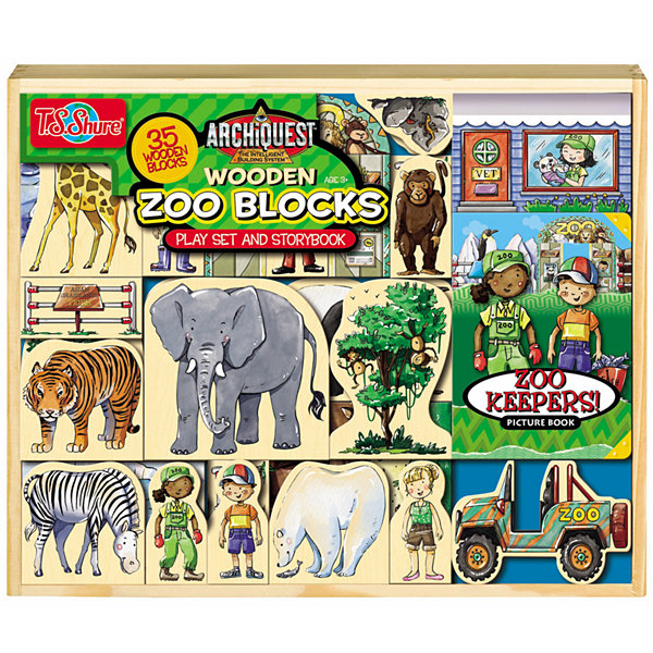 Archiquest 35 Piece Zoo Wooden Blocks