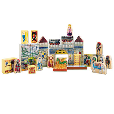 Wooden Castle Blocks Playset And Book