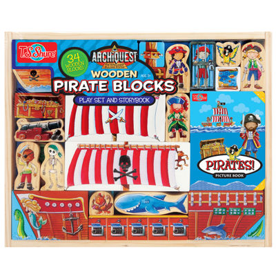 Wooden Pirate Blocks Play Set And Book