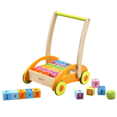 Classic Toy Wood Baby Walker With Blocks