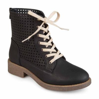 Journee Collection Womens Essex Combat Boots Block Heel Zip