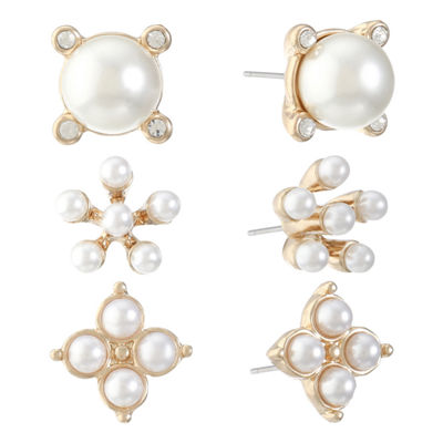 Monet Jewelry 3 Pair White SIMULATED PEARLS Earring Sets