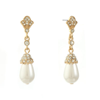 Monet Jewelry White SIMULATED PEARLS Drop Earrings