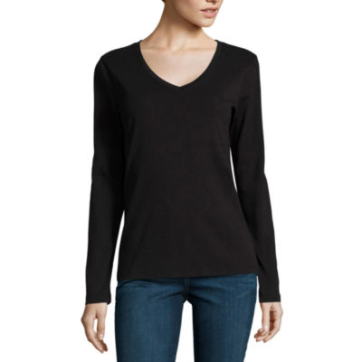 St. John's Bay Long Sleeve V Neck T-Shirt-Womens Talls