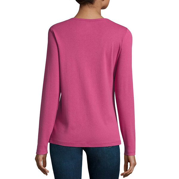 St. John's Bay Long Sleeve Crew Neck T-Shirt-Womens Talls