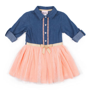 Little Lass Long Sleeve Denim Coral TuTu Dress - Baby Girls