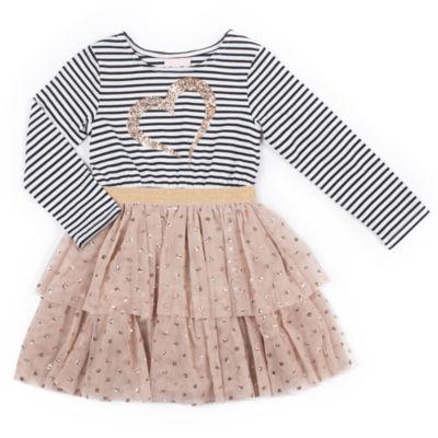 Little Lass Long Sleeve Stripe Top TuTu Dress Baby Girls