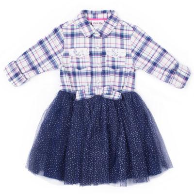 Little Lass Long Sleeve Plaid TuTu Dress - Baby Girls