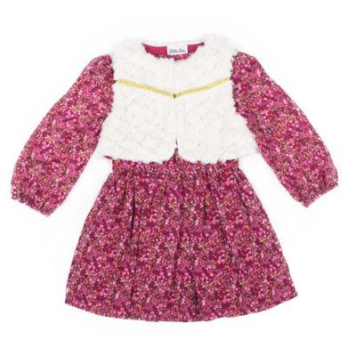 Little Lass Long Sleeve Fur Vest Wine Dress - Baby Girls