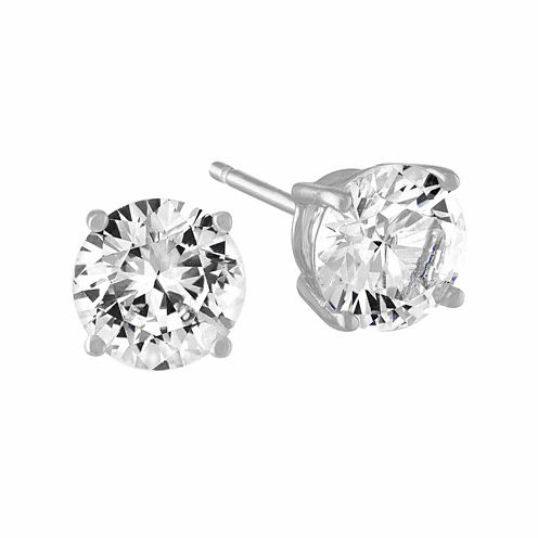 Lab Created White Sapphire Stud Earrings (Sterling Silver)