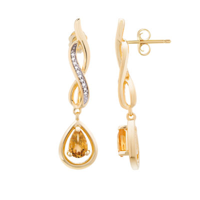 Genuine Citrine and Diamond Accent Gold Over Silver Drop Earrings