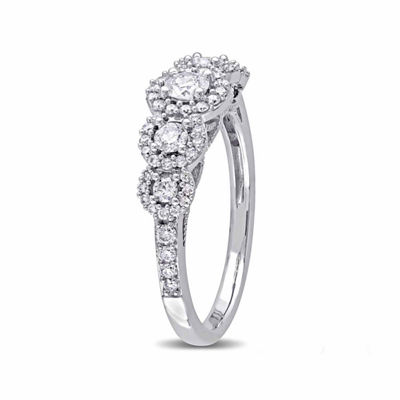 Laura Asley Womens 3/4 CT. T.W. Genuine White Diamond 10K Gold Engagement Ring