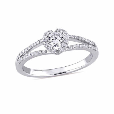 Womens 3/8 CT. T.W. Genuine Round White Diamond 14K Gold Engagement Ring