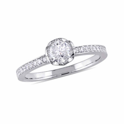 Womens 5/8 CT. T.W. Round White Diamond 14K Gold Engagement Ring