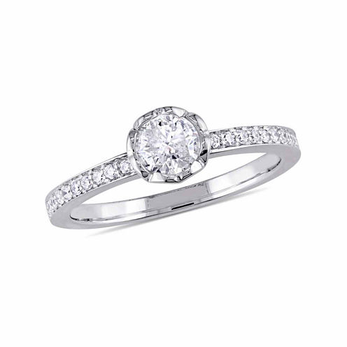Womens 5/8 CT. T.W. Genuine Round White Diamond 14K Gold Engagement Ring