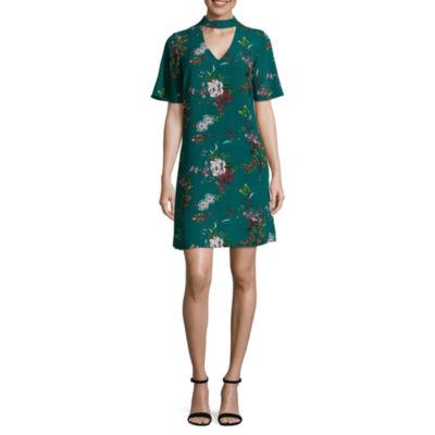 Worthington ShortSleeve Floral Shift Dress-Talls