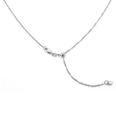 Sterling Silver 22 Inch Semisolid Singapore Chain Necklace