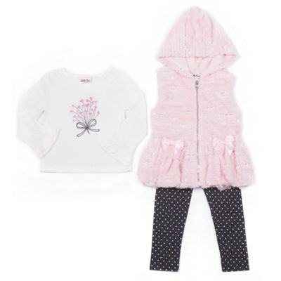 Little Lass 3-pc. Legging Set-Preschool Girls