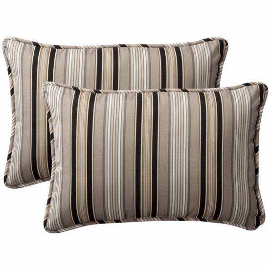 Pillow Perfect Getaway Stripe Rectangular OutdoorPillow - Set of 2
