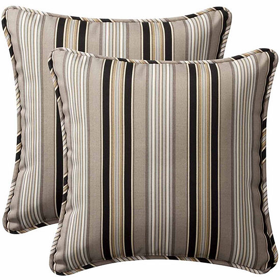 Pillow Perfect Getaway Stripe Square Outdoor Pillow Set Of 2