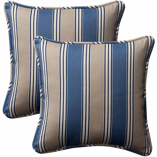 Pillow Perfect Hamilton Square Outdoor Pillow - Set of 2