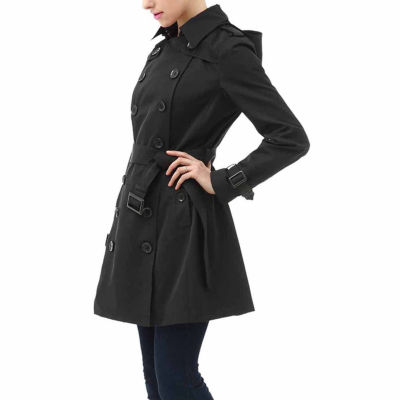 BGSD Women's Leah Hooded Mid Length Trench Coat