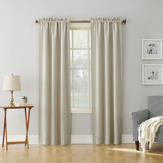 Sun Zero Evan Energy Saving Blackout Rod-Pocket Curtain Panel