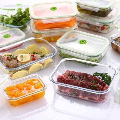 lasting freshness 5piece glass vacuum food storage containers rectangular