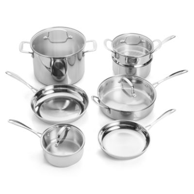 For The Chef Forthechef 11-pc. Stainless Steel Dishwasher Safe Cookware Set