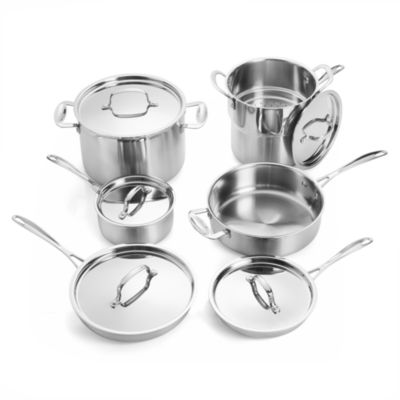 For The Chef Forthechef 12-pc. Stainless Steel Dishwasher Safe Cookware Set