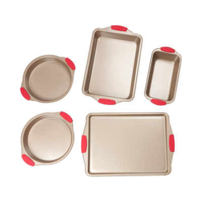 For The Chef Rose Gold 5-Pc. Bakeware W Silicone Grips 5-pc. Non-Stick Bakeware Set
