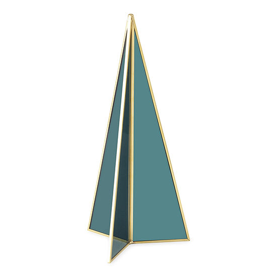 """North Pole Trading Co. Snow Haven 9.75"""" Teal Prism Christmas Tabletop Tree"""