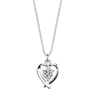 Footnotes® Sterling Silver Cubic Zirconia Heart Mom Pendant Necklace