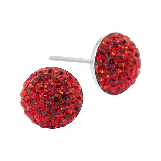 Silver Treasures Sterling Silver Red Crystal Stud Earrings
