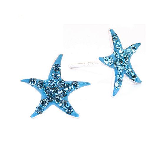 Silver Treasures Sterling Silver Crystal Starfish Stud Earrings
