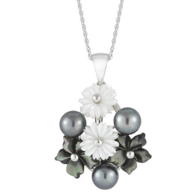 Black Cultured Freshwater Pearl & Mother-of-Pearl Pendant Necklace